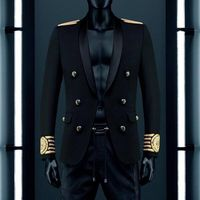 VogaIn 2016 New Fashion Limited Edition Man Black Blazer Double Breasted Gold Striped Embroidered Lion On Sleeve calf