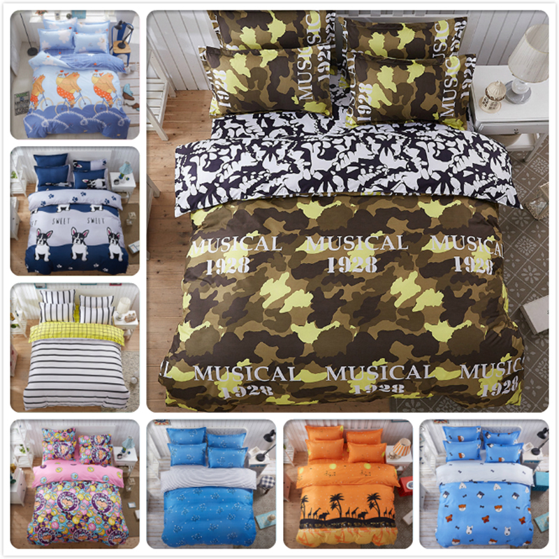 3/4pcs Set Yellow Blue Army Color Creative Scrawl Duvet Cover 1.5m 1.8m 2m 2.2m Bed Sheet King Queen Twin Double Size Bedclothes