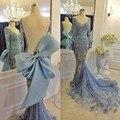 Elegante Vestido de Noche Scoop Escote 2017 Vestidos de Noche de Encaje Vestidos de Noche de La Sirena Backless Seeve Completo Arco Grande Robe De Soirée