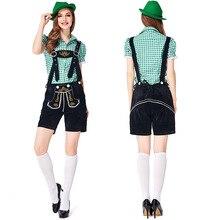 German traditional Green and Black Oktoberfest couple costumes European American bar overalls Alpine adult women