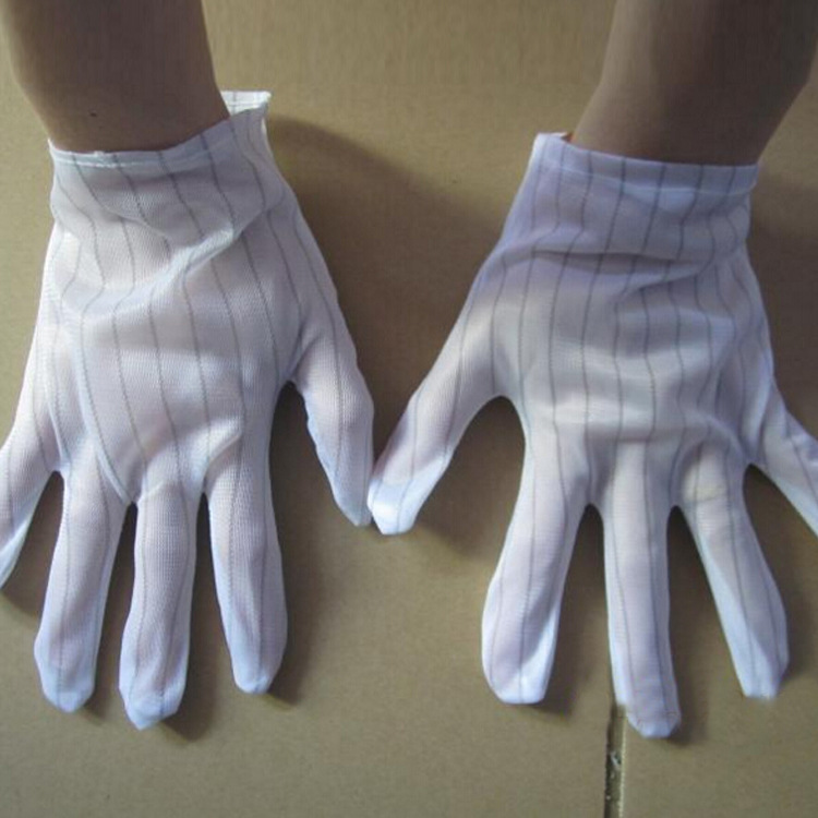 1 Pair Antistatic Gloves, Anti Static Double-sided Striped Labor Gloves, Dust Free Protective Gloves,length:20.5cm