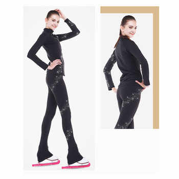 Figure Skating Jacket with Pants Women\'s Boys\' Girls\' Ice Skating Pants Trousers Top Black Spandex Stretchy Training Competition