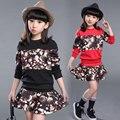 2016 новая коллекция весна цветочные комплект детей две девушки юбка + с длинными рукавами футболка костюм большой ребенок комплект оптовая продажа
