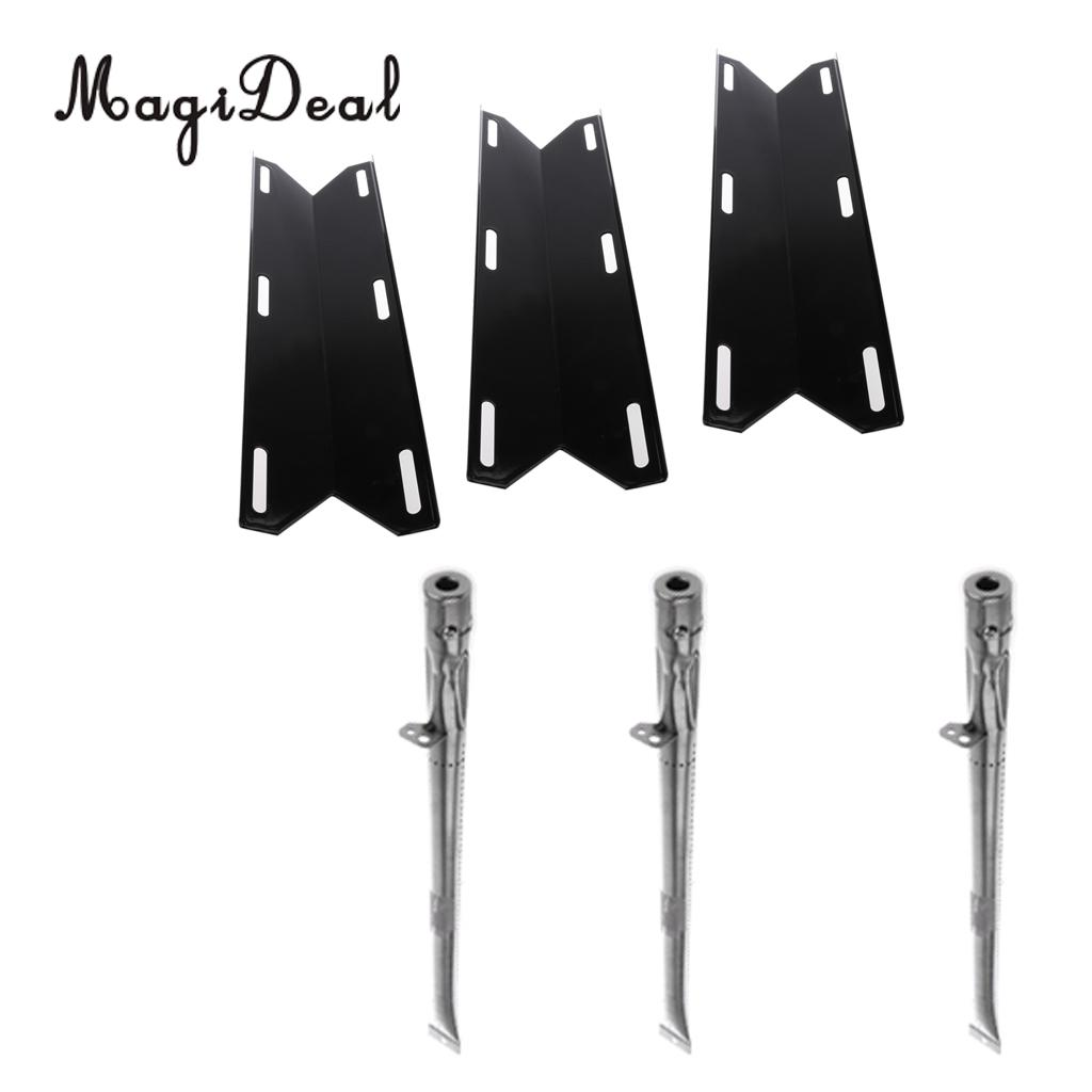 MagiDeal Universal Replacement BBQ Gas Grill 3pcs Heat Plate Shield Heat Tent + 3pcs 20 x 1 inch Stainless Steel Tube Burner