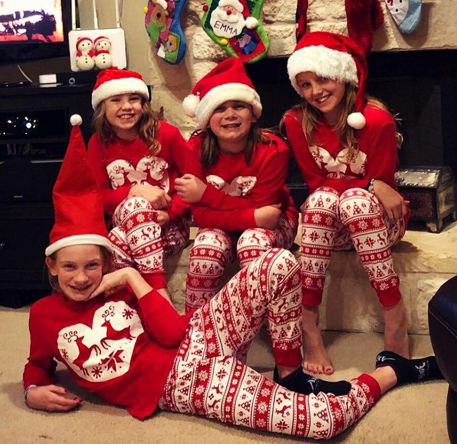 Christmas Family Pajamas Set.Us 8 21 13 Off Christmas Family Pajamas Set Xmas Family Matching Clothes Set Adult Kids Deer Red Cute Sleepwear Party Cotton Homewear Nightwear In