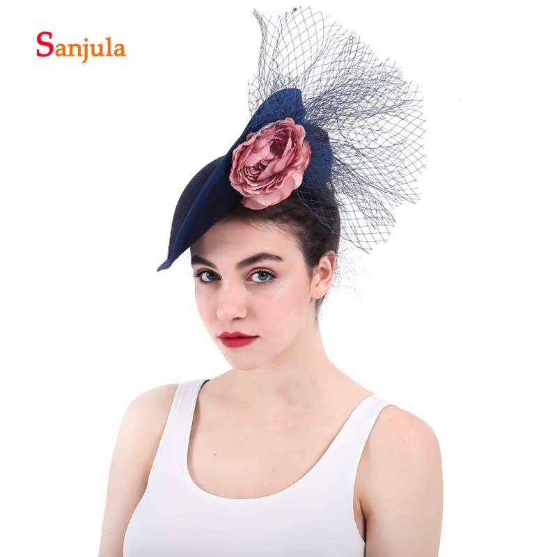 Fashionable Fascinators Bridal Hats Navy Blue Women 39 s Formal Party Headwear with Flowers pamelas sombreros bodas H23 in Bridal Headwear from Weddings amp Events