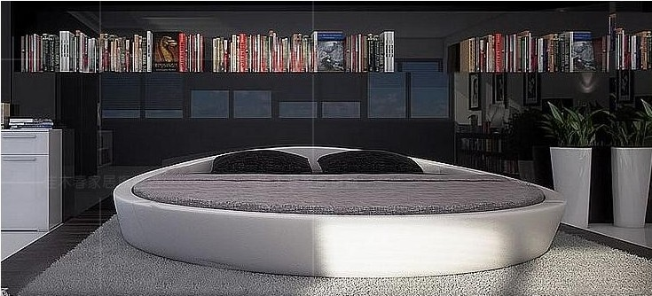 MYBESTFURN Italy Design Luxury Large Size Round BedTop Grain - Lit 2 places rond