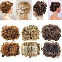 S-noilite élastique bande de caoutchouc Net bouclés Chignon avec deux peignes en plastique Updo couverture cheveux Chignon Afro cheveux postiche synthétique
