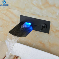 ULGKSD Wholesale and Retail LED Waterfall Bathroom Sink Faucet Basin Faucet Concave Shaped Hot and Cold Water Mixer Tap