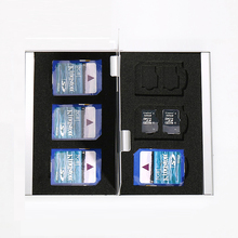 18 en 1 De Aluminio Bolsa Caja de Almacenamiento Caja de la Tarjeta Titular de La Cartera de Gran Capacidad de Memoria Para 6 * Tarjeta SD 12 * Mirco SD