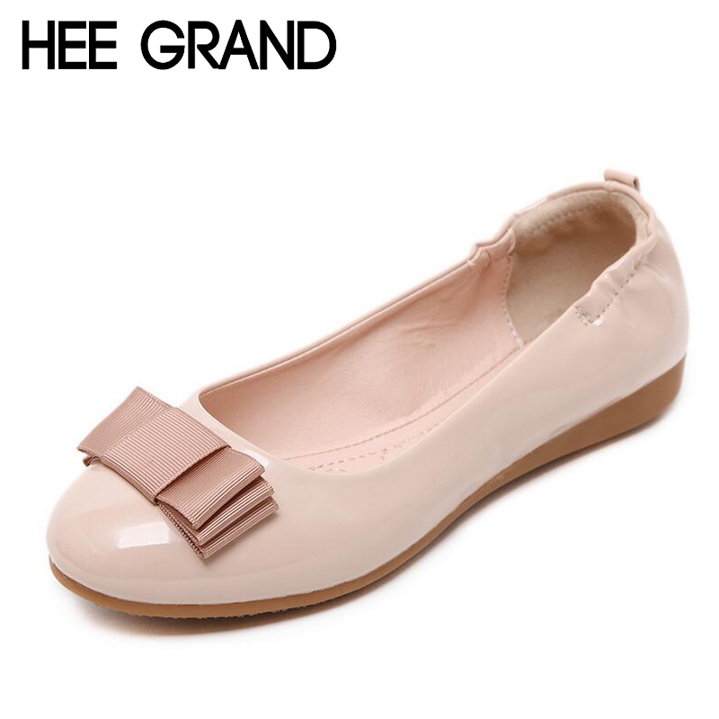 HEE GRAND Loafers 2017 Comfort Slip On Ballet Flats Bowtie Shoes Woman Casual PU Leather Women Shoes Size 35-40 XWD4384 tangnest new embroider women flats casual flower printed ballet flats solid pu leather leisure shoes woman size 35 40 xwc1233
