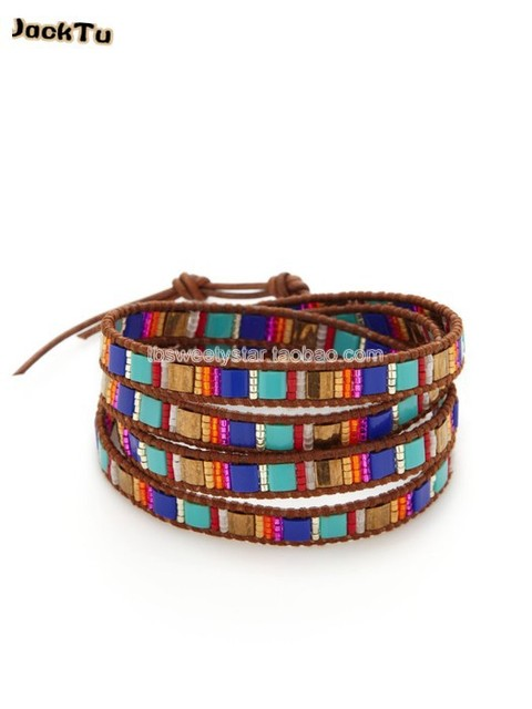 2017 JackTu turquoise color tila seed beads leather wrap bracelet
