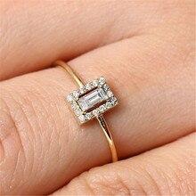 YKNRBPH High-quality Square Diamond Princess Ring Lady's 18K Golden Exquisite Engagement Ring Handwear Jewelry кольцо midi ring 2015 18k jz110