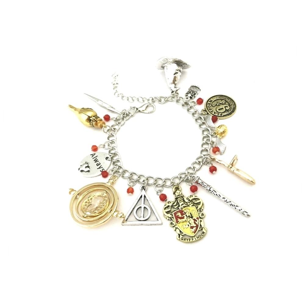 Drop shipping Time turner Horcrux Bracelets wristlet Deathly Hallows Dark Mark Sorting Hat men and women Trinket wristlet