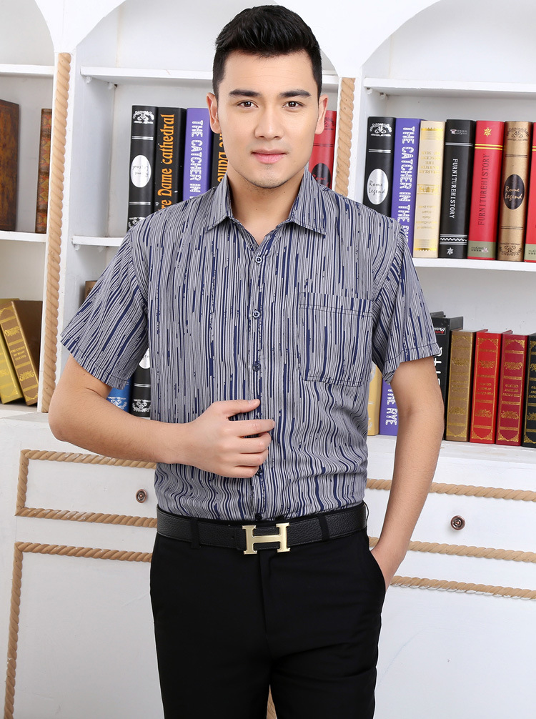 Yun to spin printing sliver blue 2018 mulberry silk silk short sleeve shirt and leisure ...