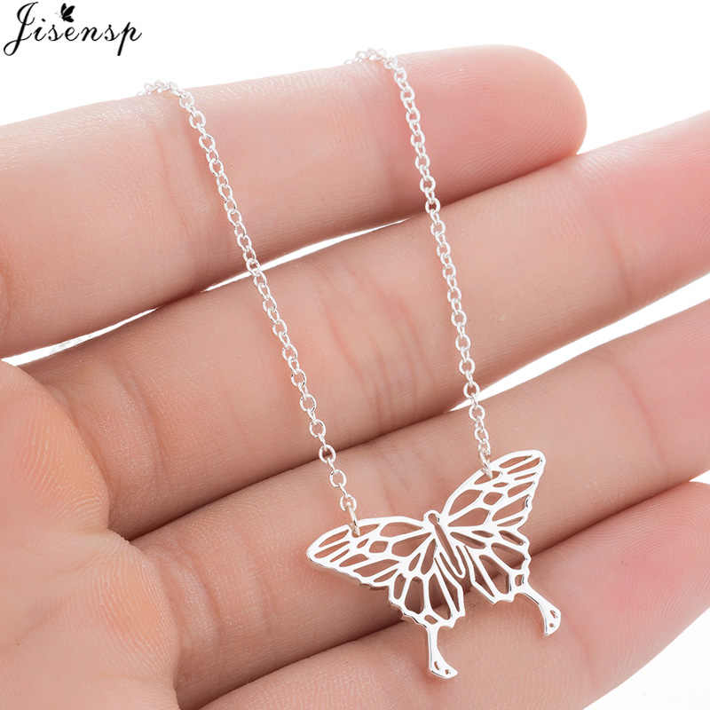 Jisensp Delicate Origami Butterfly Charm Necklace Lovely Hollow Insect Pendant Necklace Animal Jewelry for Women bijoux Gift
