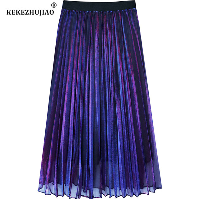 Fashion Metallic gradient Pleated Skirt High Waist mid-Calf Elastic Waist Party Skirt Club Ladies Fenimias Spring Summer 2018
