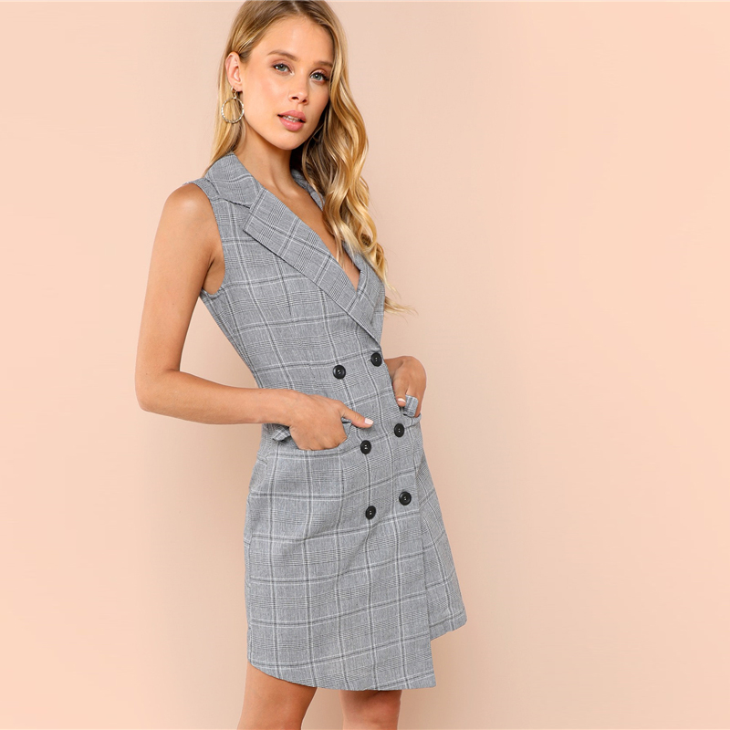 COLROVIE Plaid Work Wrap Button Pockets Vintage Dress V Neck Shirt Sexy Dress Women Autumn Elegant Mini Summer Dresses 9