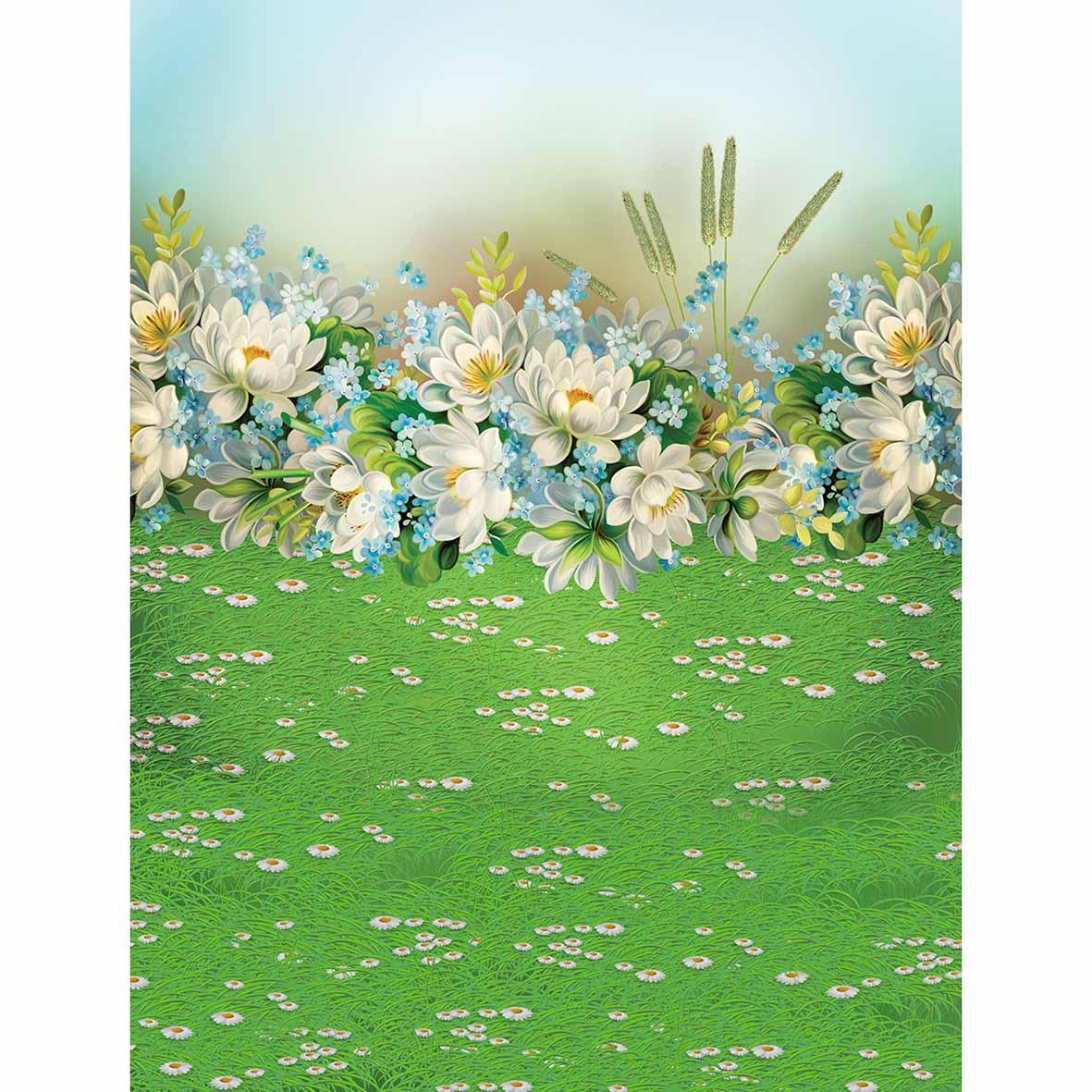 Allenjoy Photographic Background Grass White Flowers Cartoon Scenery