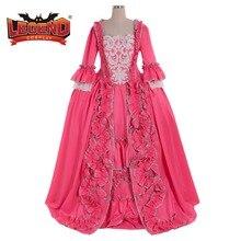 Розовое Бальное Платье 18-го века в стиле колонии Марии Антуанетты, розовое платье Рококо с открытой спиной, костюм