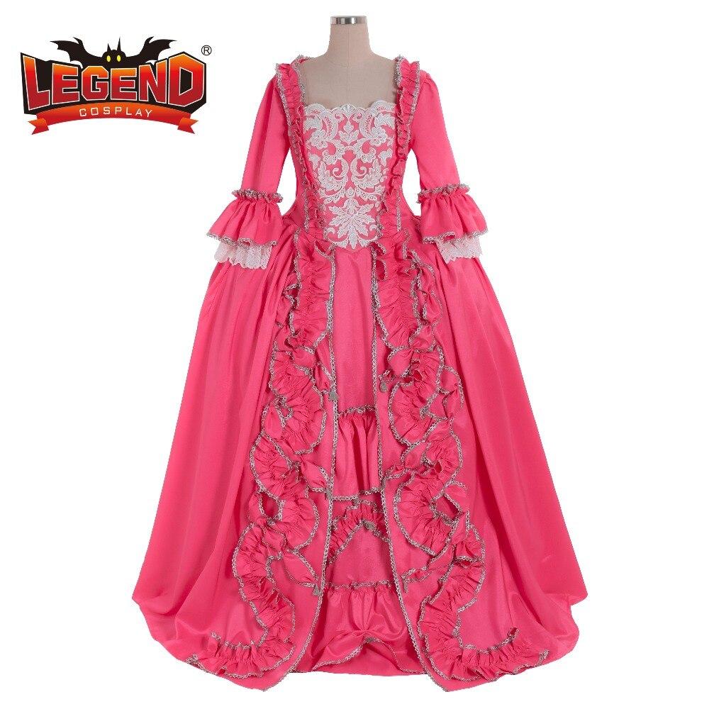 18TH century colonial Marie Antoinette robe de bal rose robe rococo rose sac dos robe costume