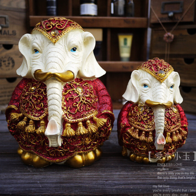 Indian Resin Handicrafts Modern Home Furnishing Animal Ornaments White Elephant Crafts