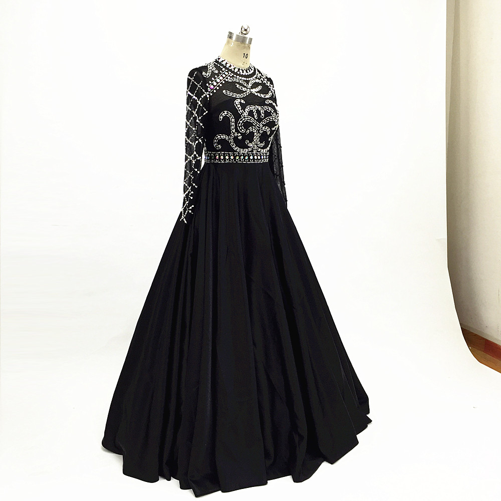Long Prom Dresses 2019 Satin Evening Dresses Black long sleeves formal party Gown Robe de Soiree Sexy O Neck Beaded floor length