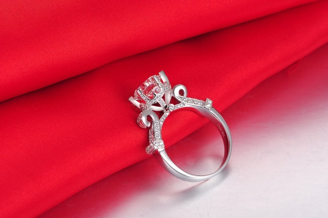 4CT Excellent Awesome Jewelry Ring Hearts and Arrows Moissanite Engagement Big Diamond Jewelry Women Genuine White Gold Jewelry