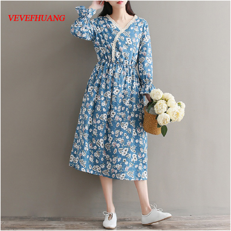Spring Autumn Mori Girl Women Elegant Dress V Neck Floral Print Elegant Vestidos Femininos Flare Sleeve Cotton Vintage Dresses