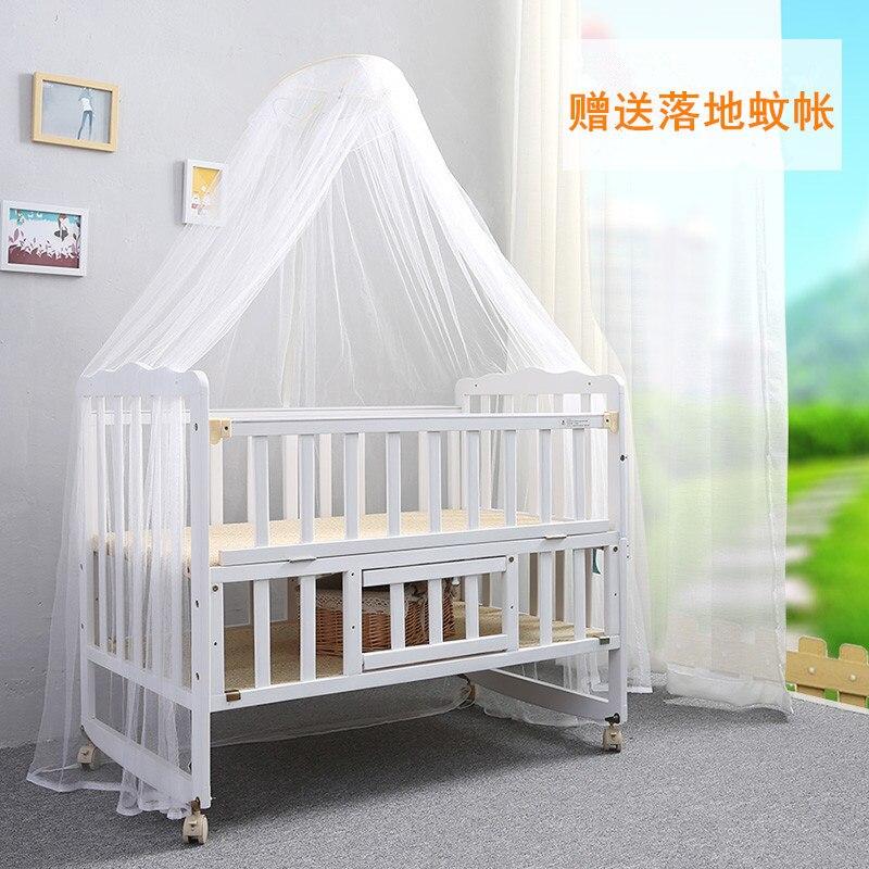 Lit bébé nature bois massif lit pliant multi-fonction trois fichiers réglage portable avec rouleau jeu lit avec moustiquaire