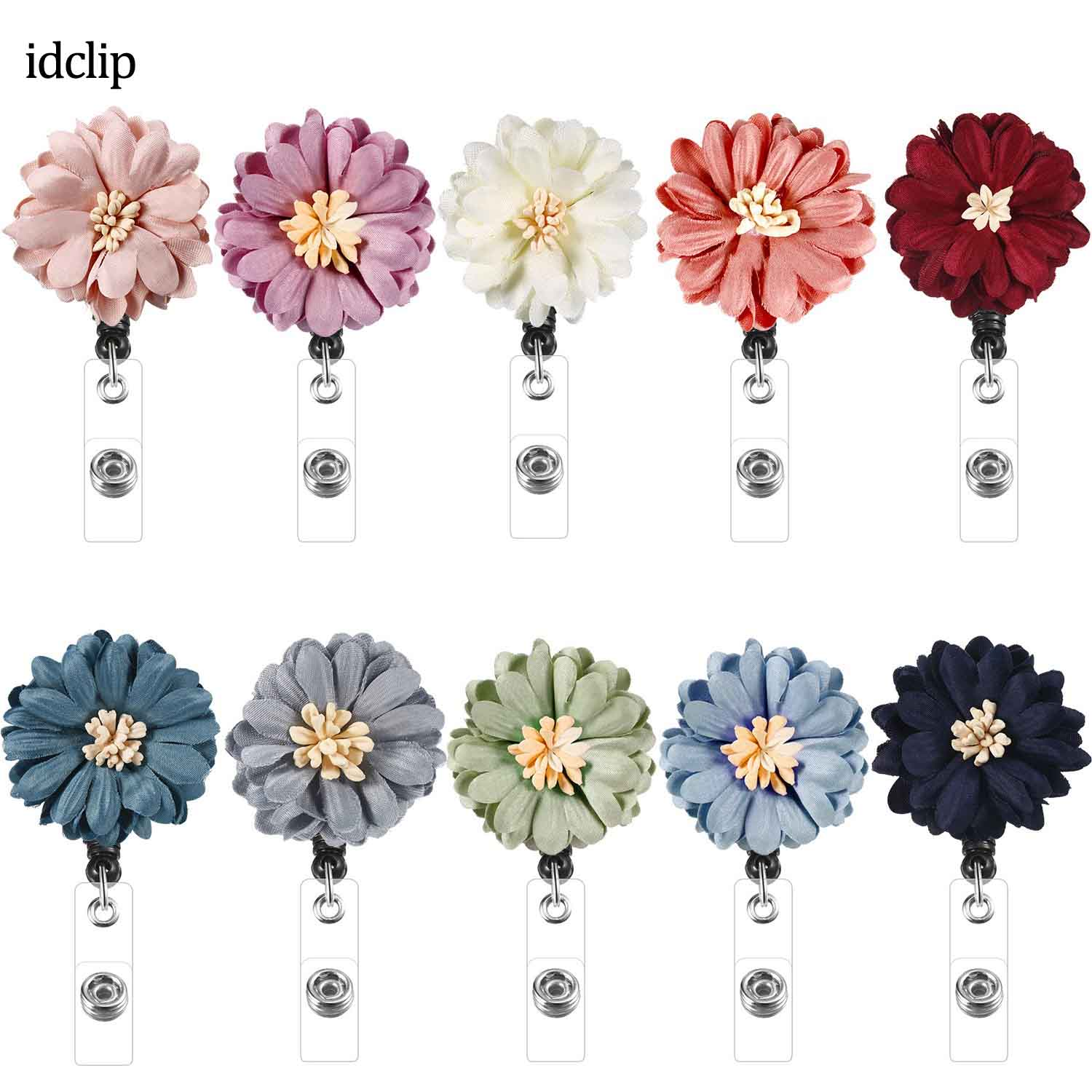 idclip 10 PCS Daisy Retractable Badge Holder with Alligator Clip ID Reel on Card Holders