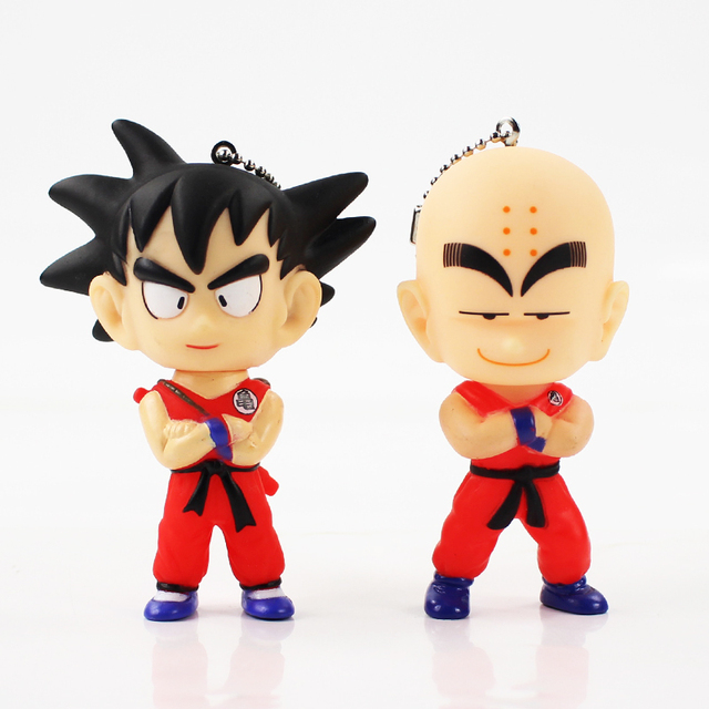9cm Dragon Ball Z Super Saiyan Goku Krillin Keychain Pendant Mini