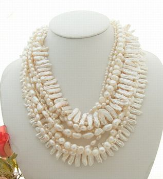 """Stunning! 40"""" 6Strands White Pearl Necklace"""