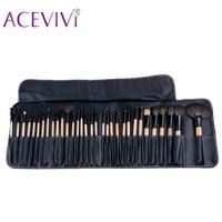 New 32PCS MakeUp Brush Cosmetic Set Eyeshadow Wood Blusher Brush Tools Pink Cup Holder Case