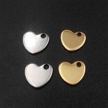 100pcs 10*9*1mm Stainless Steel Pendant Heart-shaped Pendant LOGO Tag  DIY Tail Pendant