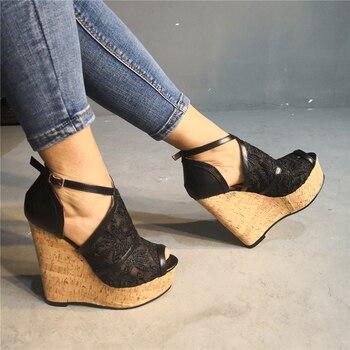 DoraTasia Brand Design Big Size 35-47 Sexy Party lace mesh Women Wedges Shoes elegant High Heels Shoes Woman Sandals