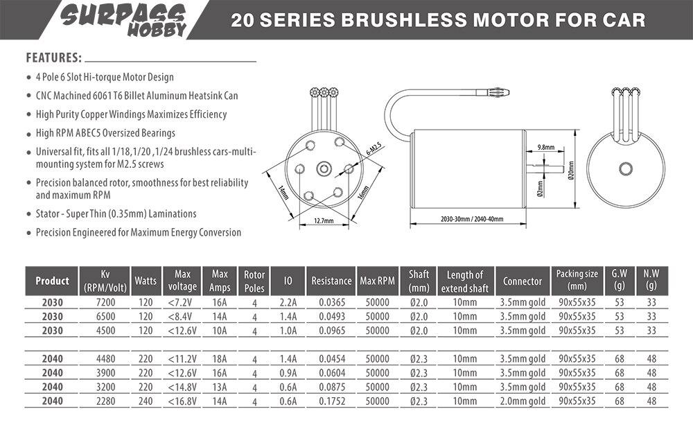 Image 5 - Waterproof  KK 2030 2.0mm 4500KV 6200KV 6500KV 7200KV 2S Brushless Motor for 1:20 1:18 GTR/Lexus RC Drift Racing Car-in Parts & Accessories from Toys & Hobbies