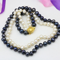 Natural real white freshwater 7-8mm pearl beads 2 rows necklace for women statement chain wedding gifts jewelry 17-18inch B3240