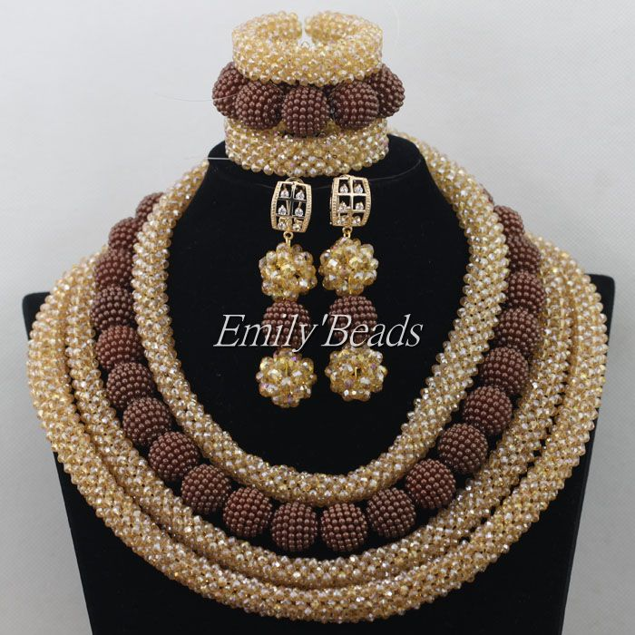 2015 Hot African Champagne Gold Beads Jewelry Sets Costume Brown Nigerian Wedding Indian Bridal Necklace Jewellry Sets AIJ3222015 Hot African Champagne Gold Beads Jewelry Sets Costume Brown Nigerian Wedding Indian Bridal Necklace Jewellry Sets AIJ322