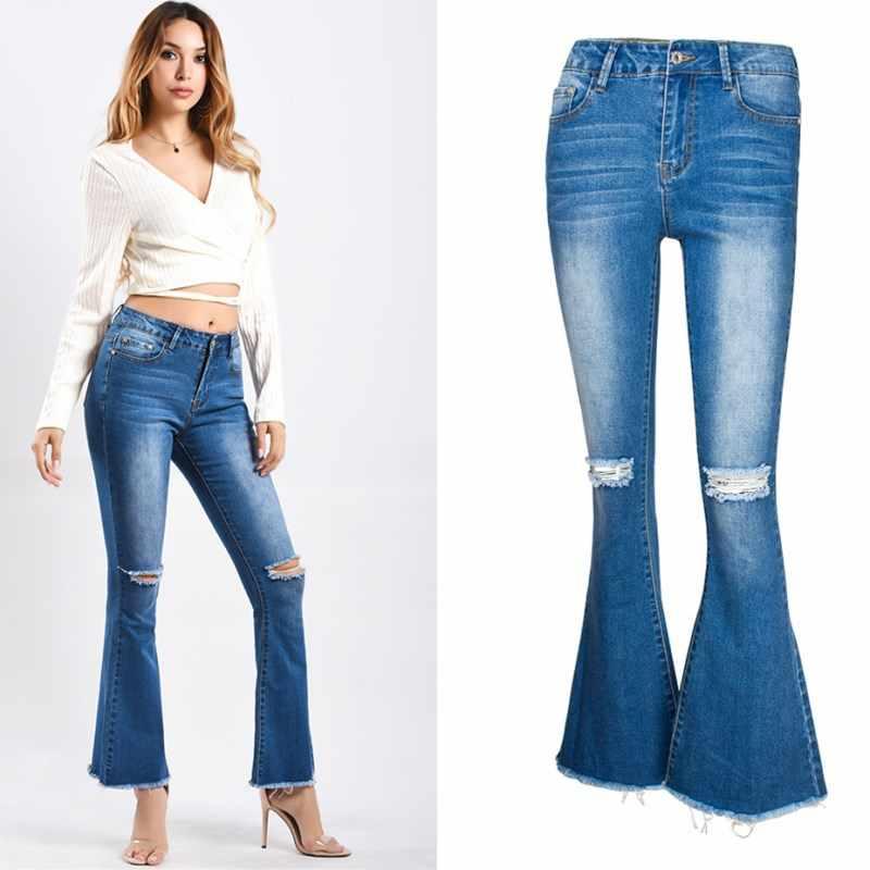 Rasgados Flare De Home Mujeres Jeans Elásticos Skinny Vintage Pantalones Vaqueros Casual Ropa Blue Aphrodite Mujer Mezclilla kuOZiXP