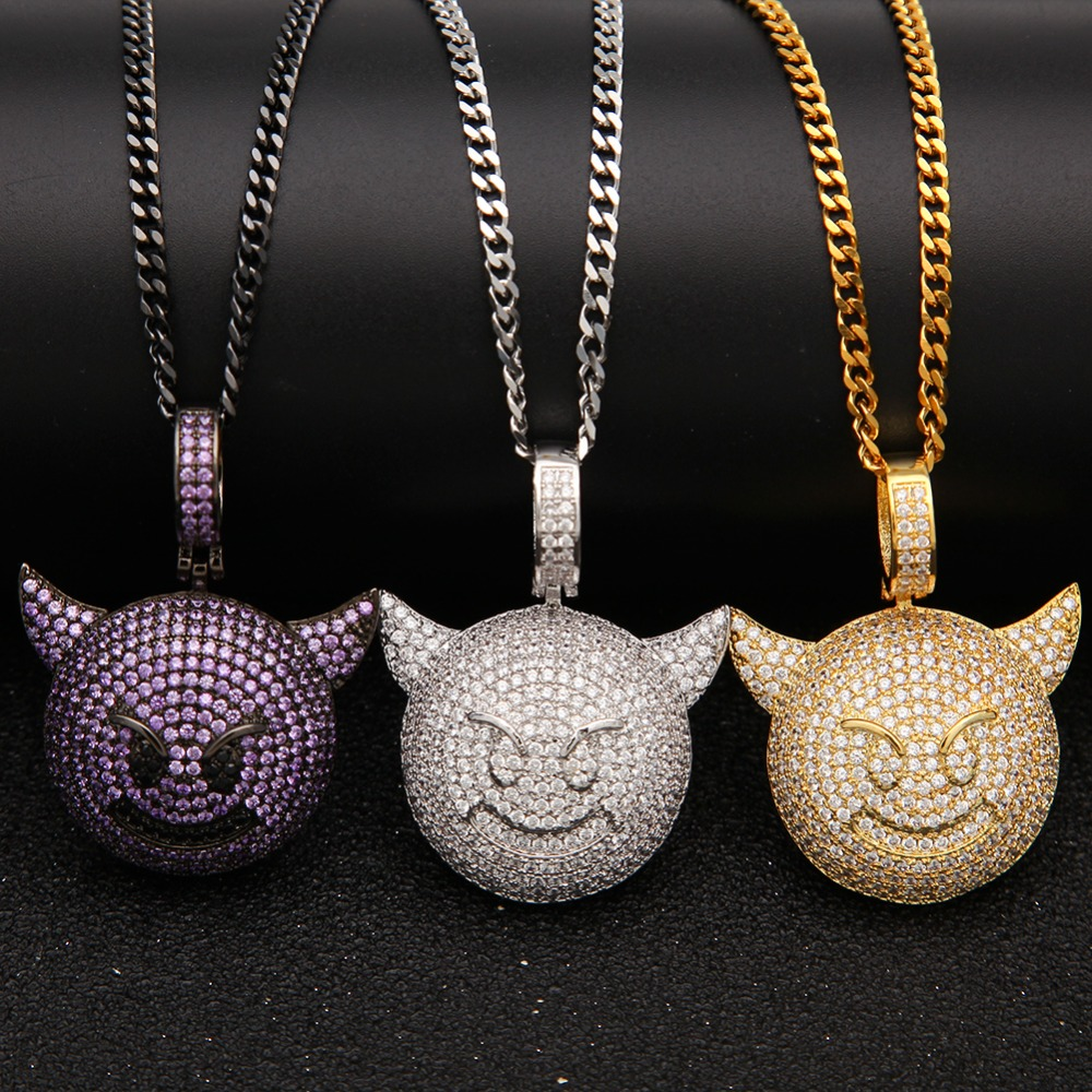 UWIN Emoji Little Devil Pendant AAA CZ Bling Iced Out Champagn Micro Paved Hip hop Necklace Tennis Chain Men's Hiphop Jewelry uwin iced out aaa zircon cross pendant copper material bling cz men s hip hop pendant necklace for women fashion hiphop jewelry