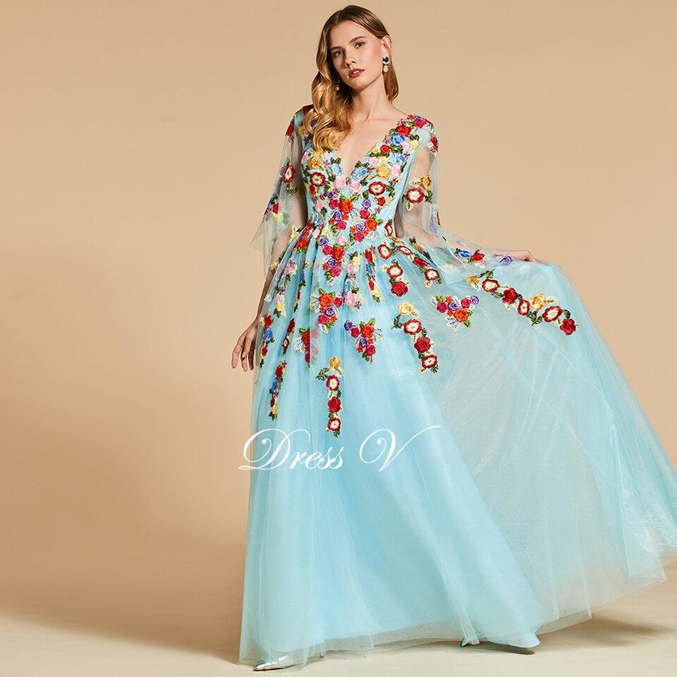 Dressv sky blue elegant long evening dress v neck 3/4 sleeves ...