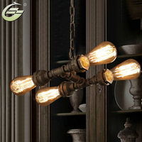 Vintage Loft Water Pipe Pendant Light 4 Head Industrial E27 Brown Iron Indoor Chain Pendant Lamp Home Decoration for Living Room