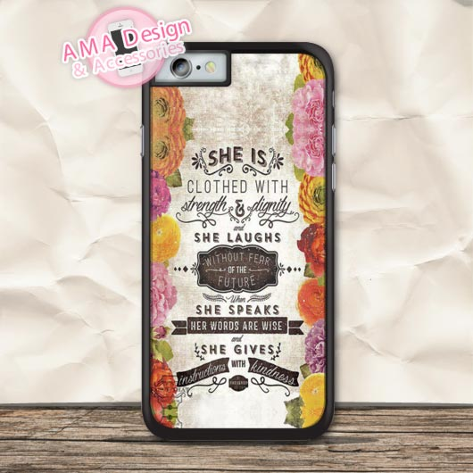 Dignitarial Girl Quote Floral Protective Case For iPhone X 8 7 6 6s Plus 5 5s SE 5c 4 4s For iPod Touch