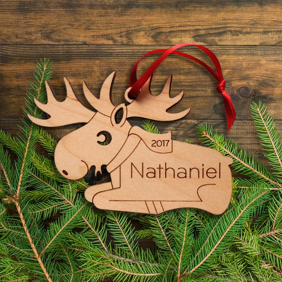 Wooden Moose Ornament Personalized Name Boy Or Girl Babys First Christmas 2018 Kids Woodland Animal Elk Ornament In Pendant Drop Ornaments From Home