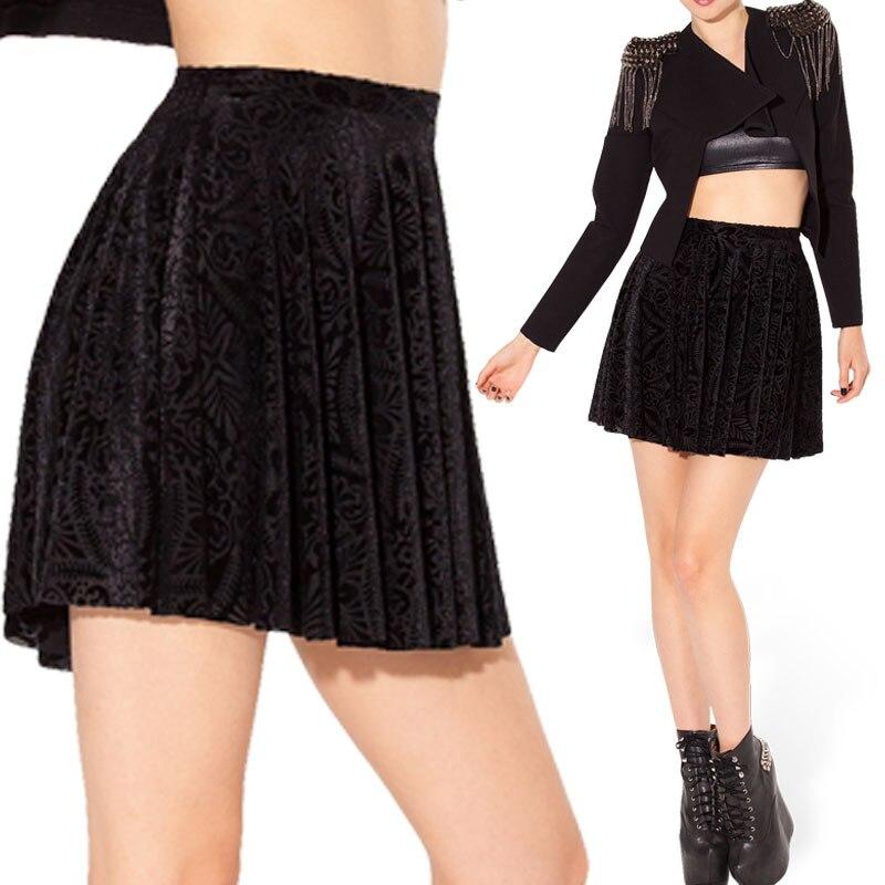 b048c7819e Sexy Women Mini Skirt 2014 Burned Velvet Geometric Flower Black Mini Skater  Skirt Short Pleated Skirt