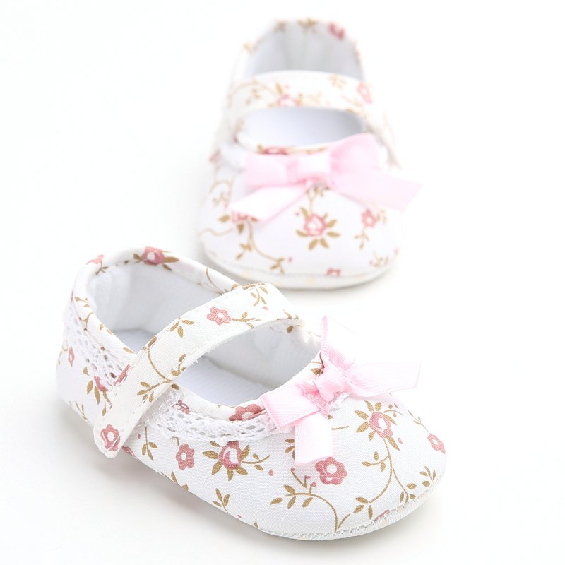 Mary Jane Ballet Dress Baby Toddler First Walkers Crib Floral Soft Soled Anti-Slip Shoes Infant Newborn Girls Princess Shoes