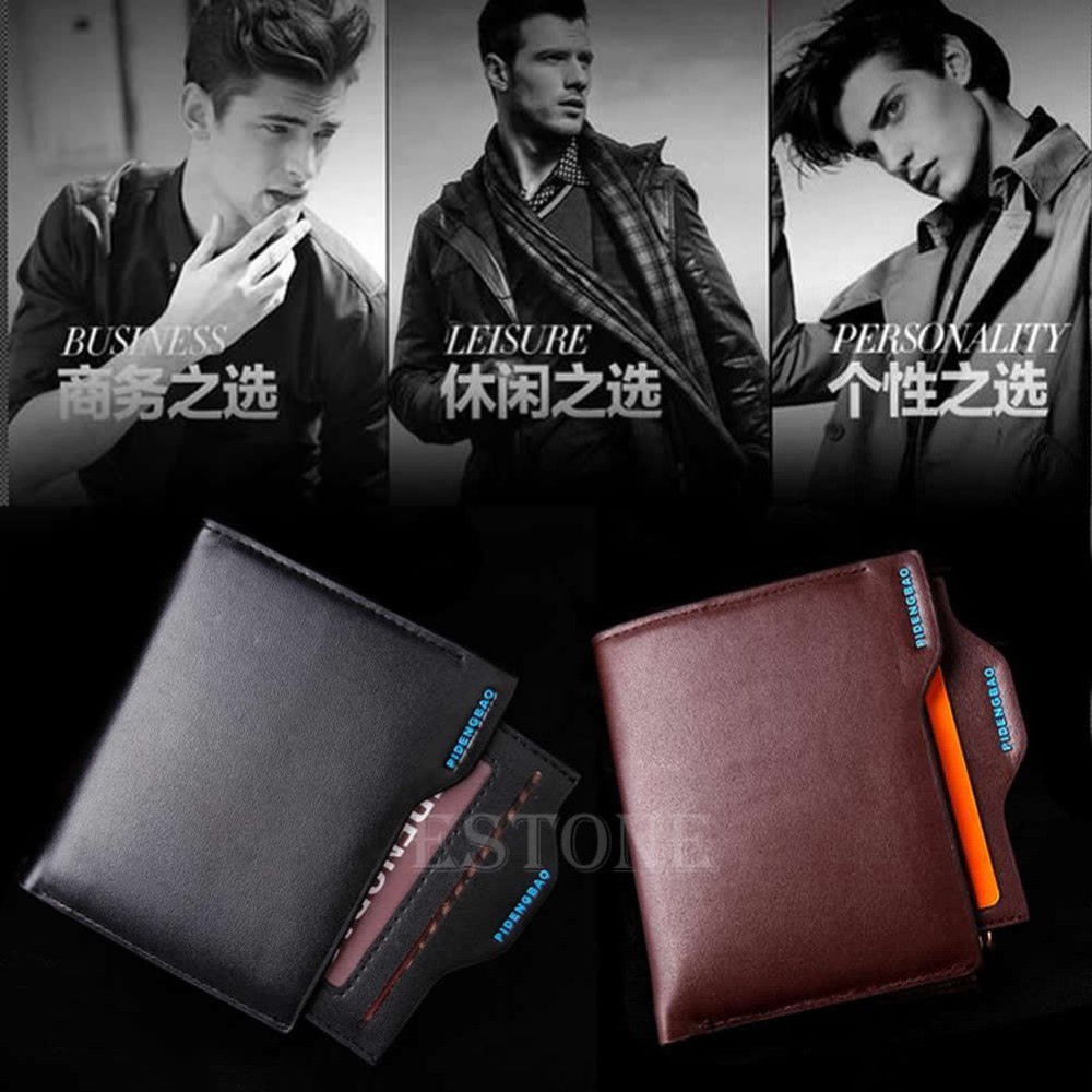 THINKTHENDO 2016 Mina New Men's Faux Leather Wallet Pockets ID Credit Card Holder Clutch Bifold Coin Purse