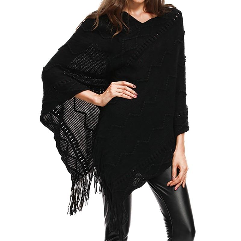 1c8d60af8b62 Liva Girl mujeres estilo británico Poncho invierno bufanda borla a rayas  Cardigan abrigo Poncho ...