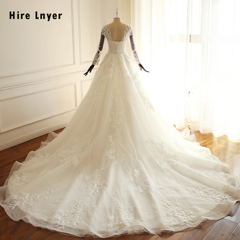 2f878ed321bc4 HIRE LNYER Long Sleeve Princess Wedding Dresses Elegant 2019 Gelinlik  Appliques Beading Pearls Bridal Gowns Robe Mariage ~ Perfect Sale July 2019